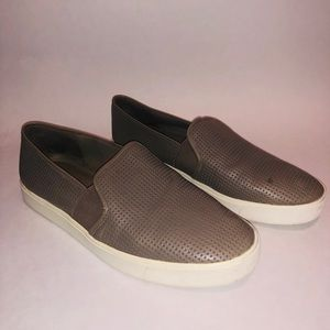 VINCE Blair Woodsmoke Taupe Leather Perforated
